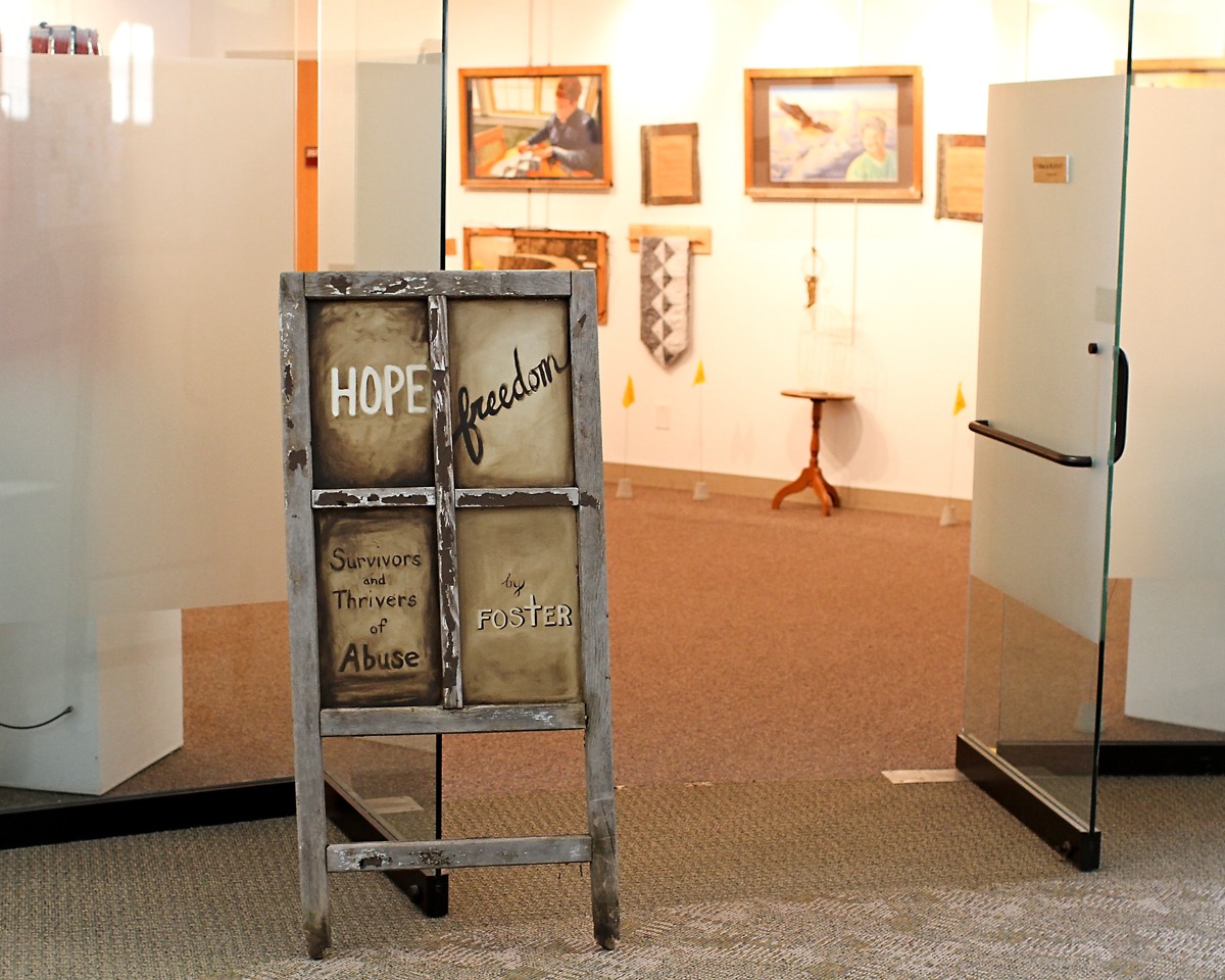 Caption: Christine Foster Exhibit at the NW Minnesota Arts Council Gallery within Northland College/Thief River Falls, MN campus.