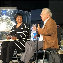 Caption: 2)	Astronaut Mae Jemison and Planetary Society Founder and Executive Director Emeritus Lou Friedman on stage at the 2019 NIAC Symposium's banquet., Credit: Mat Kaplan