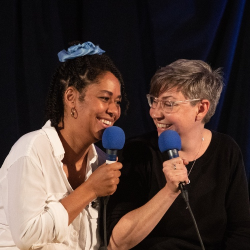 Caption: Eula Scott Bynoe & Jeannie Yandel on Live Wire, Credit: Jennie Baker