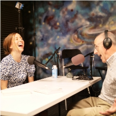 Caption: Sasha Sagan and Mat Kaplan enjoy a moment in the Planetary Society studio., Credit: Planetary Society/Merc Boyan