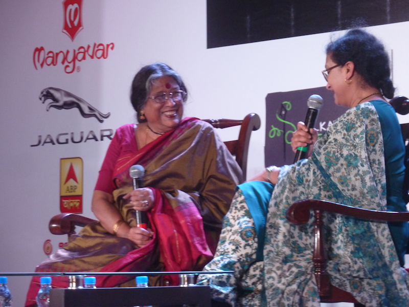 Caption: Nabaneeta Dev Sen with her daughter at Antara at the Kolkata Literary Meet, Credit: Sandip Roy