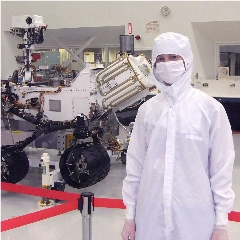 Caption: Senior Editor Emily Lakdawalla visits Mars rover Curiosity at JPL., Credit: Mat Kaplan