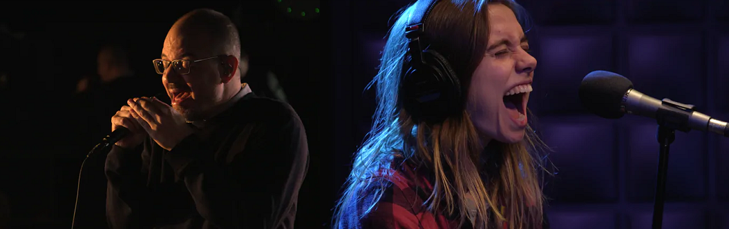 Caption: Matthew Good and Julien Baker performing live in the q studio in Toronto , Credit: CBC