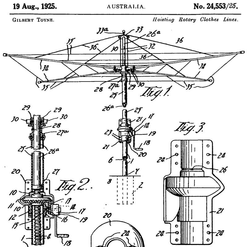 Caption: The cover art for this episode comes from Gilbert Toyne's 1925 Australian patent on the rotary clothesline., Credit: Australian Government patent system.