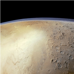 Caption: Hellas Basin from the Mars Express orbiter, Credit: ESA / DLR / FU Berlin / Justin Cowart