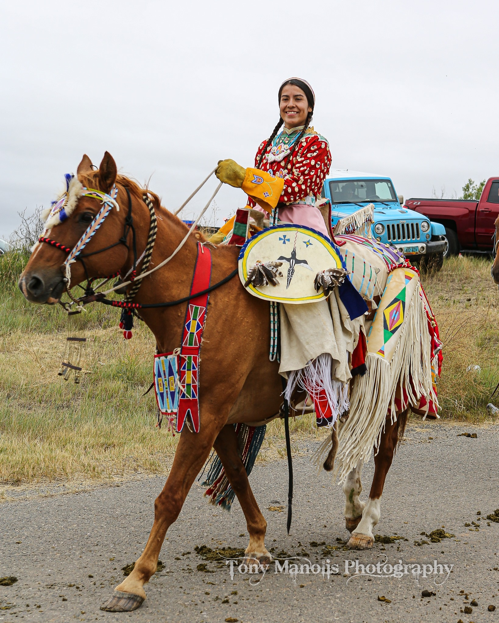 Caption: Picture 3: Photo taken during the parade at my tribe's annual celebration, Crow Fair, in 2019. (PC: Tony Manolis Photography).