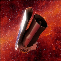 Caption: This artist's concept depicts NASA's Spitzer Space Telescope in space much as it would appear at the end of its mission on January 30, 2020. The backdrop depicts the sky in infrared light much as Spitzer would have seen it early in its mission., Credit: NASA/JPL-Caltech/R. Hurt (IPAC)