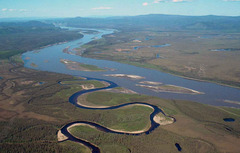 Caption: Aerial view of the Charley River at Yukon., Credit: Photo by USGS.