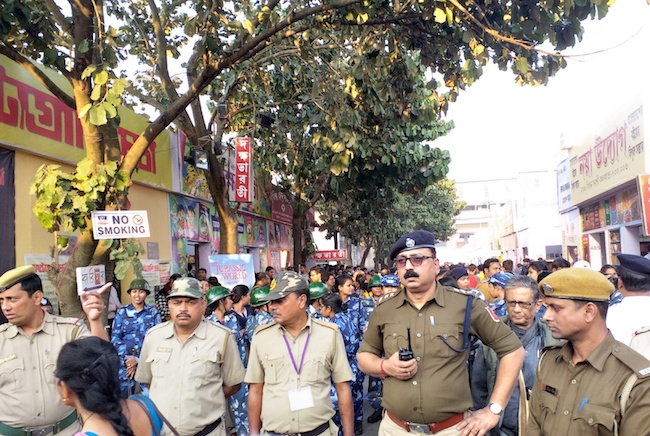 Caption: The police patrolling the Kolkata Book Fair, Credit: Sandip Roy