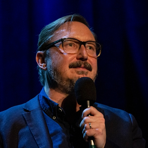 Caption: John Hodgman on Live Wire, Credit: David Ryder