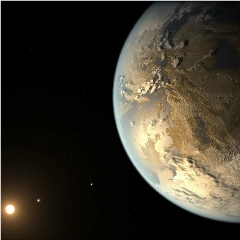 Caption: Planet Kepler 186f, seen in this artist's concept, is a nearly Earth-sized planet that orbits in its star's habitable zone, where water could be in liquid form., Credit: NASA/Ames/JPL-Caltech/T. Pyl