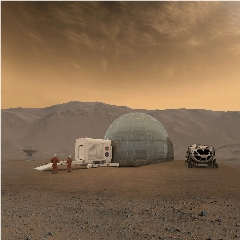 Caption: Artist's rendering of a 3D-printed habitat on Mars., Credit: NASA/Clouds AO/SEArch
