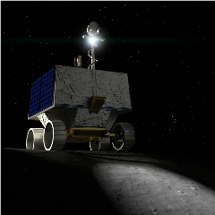 Caption: Artist's impression of NASA's VIPER (Volatiles Investigating Polar Exploration Rover), a planned robotic lunar rover that will prospect for natural lunar resources, especially water ice, within a permanently shadowed region near the lunar south pole., Credit: NASA Ames/Daniel Rutter