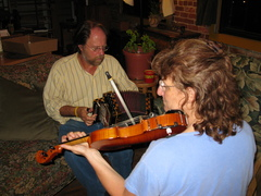 Caption: Magnolia Cajun band members Michelle Kaminsky & Alan Bradbury, Credit: Rhonda J. Miller