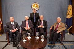 Caption: Marc Wojno (standing) with (L to R); Dan Rather, Marvin Kalb, Bob Schieffer and Daniel Schorr., Credit: Michael Foley