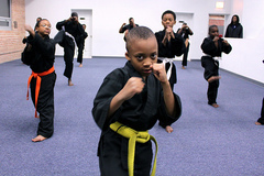 Caption: Students practice martial arts in Chicago's South Side., Credit: Andrea Silenzi
