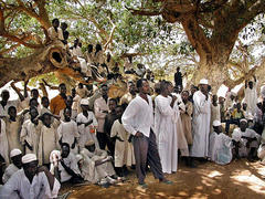 Caption: Displaced people from the Darfur region in Sudan gather under a tree in the West-Darfur Sisi Internal Displaced People camp, Credit: Associated Press