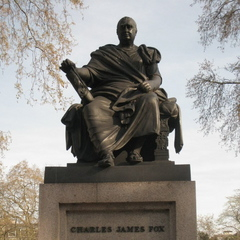 Caption: Statue of Prime Minister Charles James Fox, Credit: Walter Murch