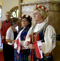 Caption: Tradition Polish Kashubian Costume worn during the Polish Mass at St. Stanisulaus Kostka Church in Winona Minnesota, Credit: Terese Tenseth