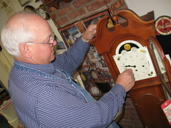 Caption: Clockmaker Ray Pavkov works in his shop, Credit: Patrick Skahill