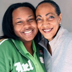"Caption: Antoinette Franklin (R) and her niece, Iriel Franklin, talk about relocating to Houston after Hurricane Katrina. <a href=""http://www.prx.org/pieces/20304-storycorps-antoinette-and-iriel-franklin"">Listen Here</a>."