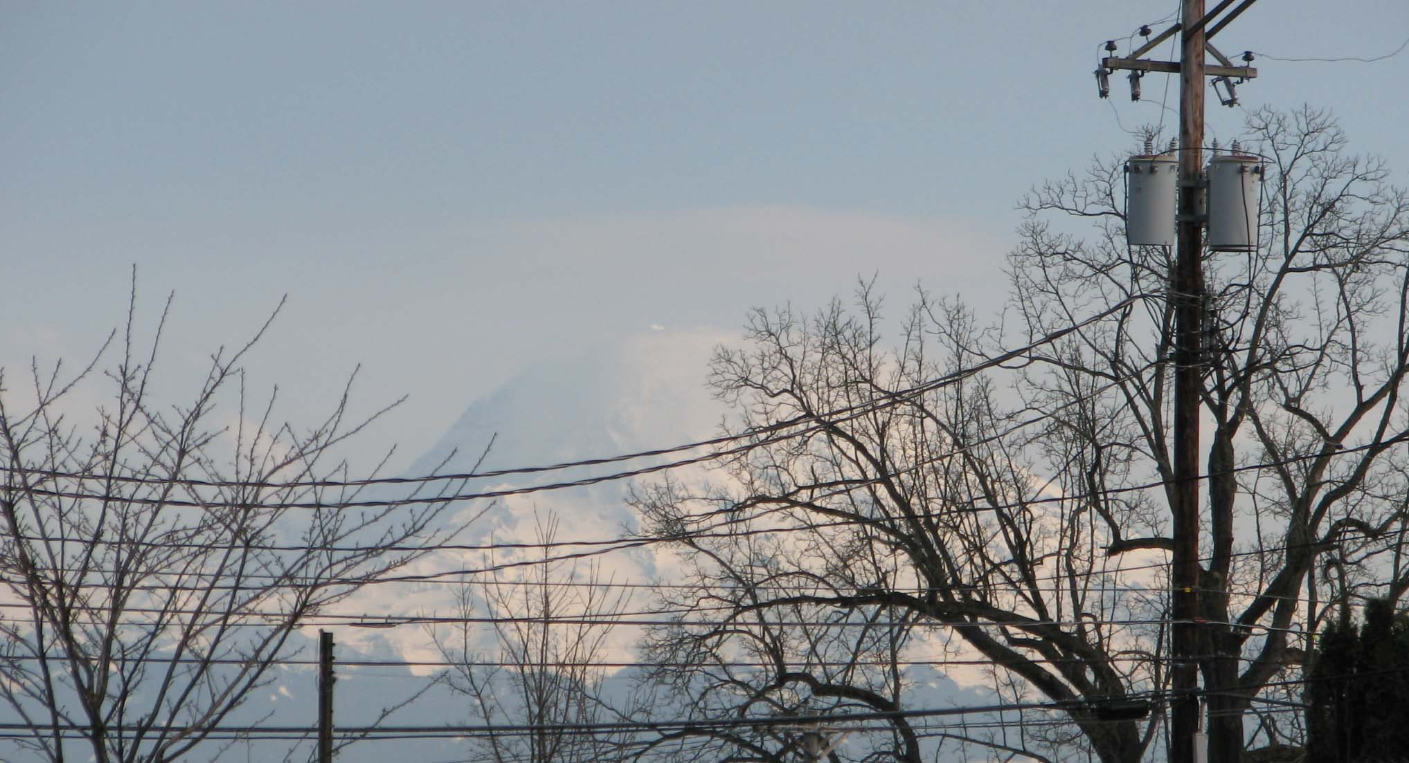 Caption: The drunken wires of Tacoma keep Mt. Rainier at a distance., Credit: PHOTO: Megan Sukys
