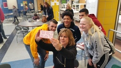 Caption: Students in Niagara Falls, NY join Cafeteria Chats with WBFO, Credit: Eileen Buckley, WBFO