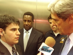 Caption: Elevator interview with John Kerry., Credit: Ryan Muller, 2007