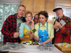 Caption: The cast of Cookus Interruptus.  Left to right: Matt Smith, Bhama Roget, Nick Eaton, Cynthia Lair and Frank Buxton., Credit: Photo by Brad Huskinson.