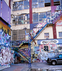 Caption: Grafitti Wall near where Sloan teaches, Credit: Photo by Warren Lehrer, from Crossing the BLVD