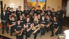 Caption: South High School Jazz Band-director/Scott Carter with guest Irvin Mayfield