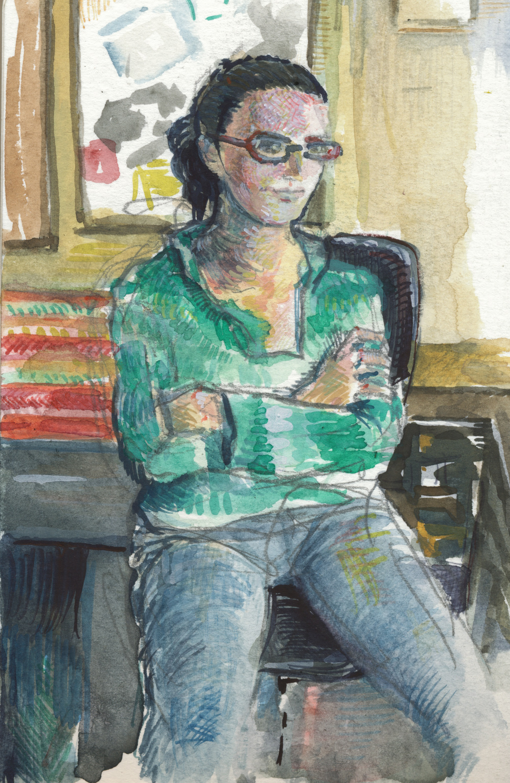 Caption: Megan Sukys in the Studio, Credit: Art by Britton Sukys