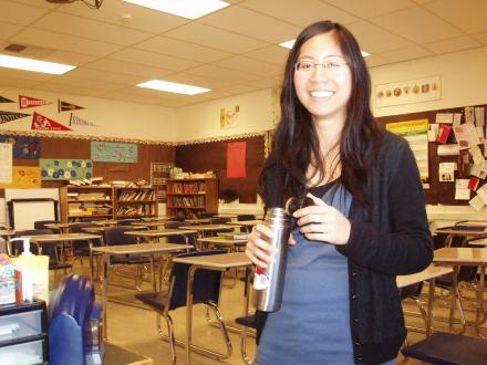 Caption: Student teacher Diana Arbas in her classroom.