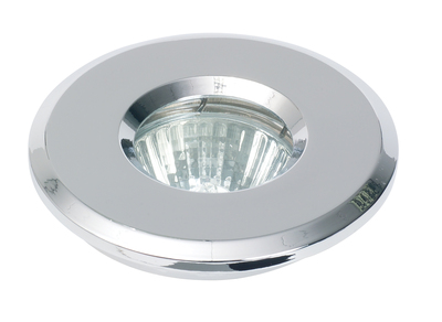 Brushed Nickel Mains Voltage IP65 Shower Downlight