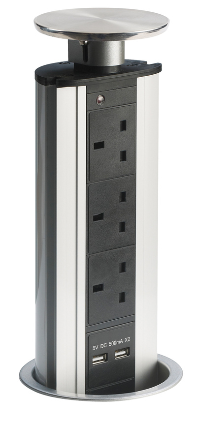 Powerport Pop-Up Socket & USB Charger - Stainless Steel Metal Top