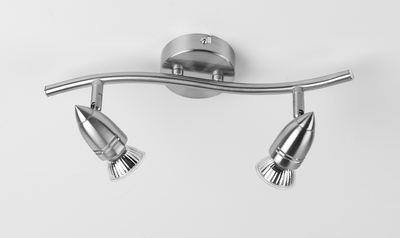 Twin Spotlight Brushed Chrome Finish Includes 4W LED GU10 bulb