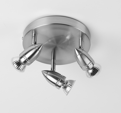 Triple Spotlight Brushed Chrome Finish Includes 4W LED GU10 Lightbulb