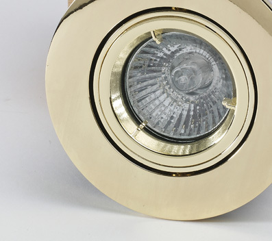 Tilt Fire Rated Downlight with a Brass Finish