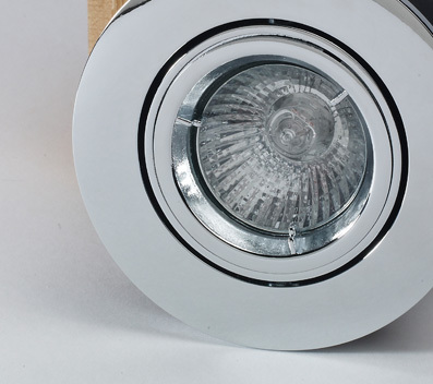 20Pk Tilt Fire Rated Downlight with a Chrome Finish