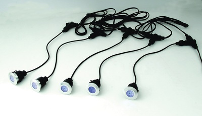 5 Pack IP65 Round Deck Lights With Blue LED