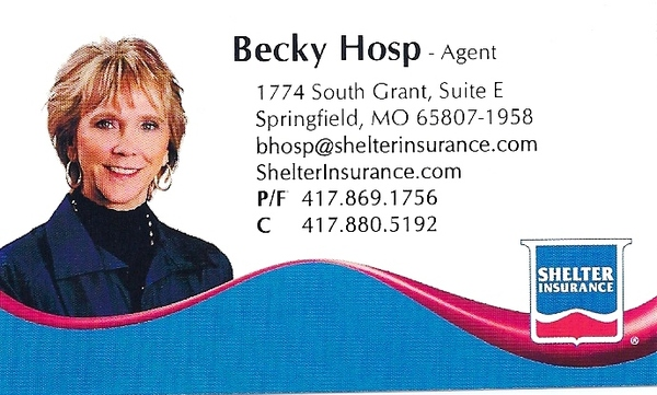 Becky hosp agency llc shelter insurancer in springfield for Business cards springfield mo