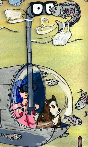 image of Professor Blue and her dog Tookie in a submarine