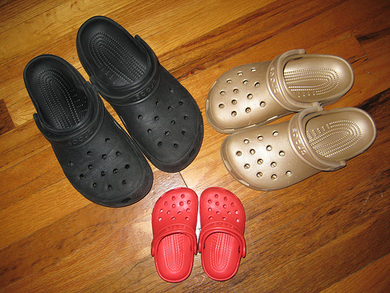 Black-gold-and-red-crocs