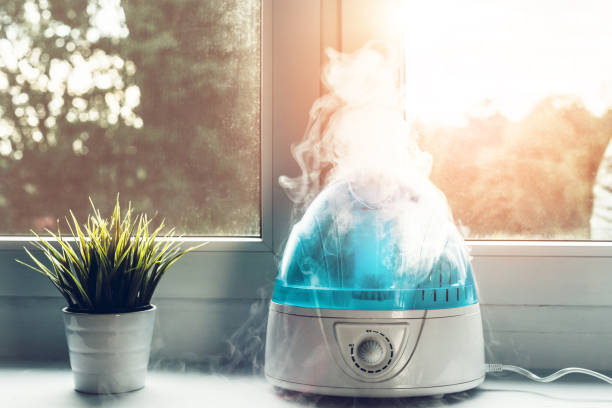 The white humidifier moistens dry air. Improving the comfort of post-op from nose surgery