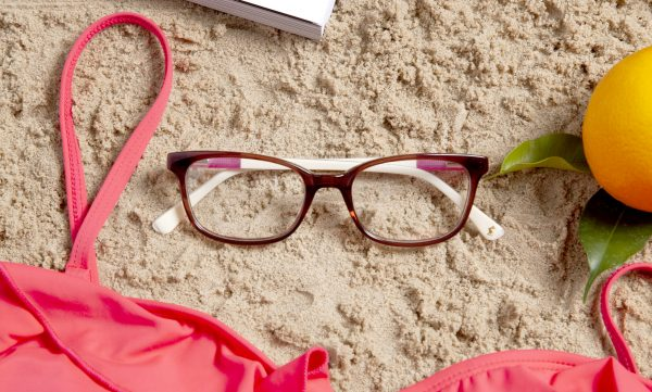 Joules SS19 Sunglass Style JO3045 in Red Photographed On Beach
