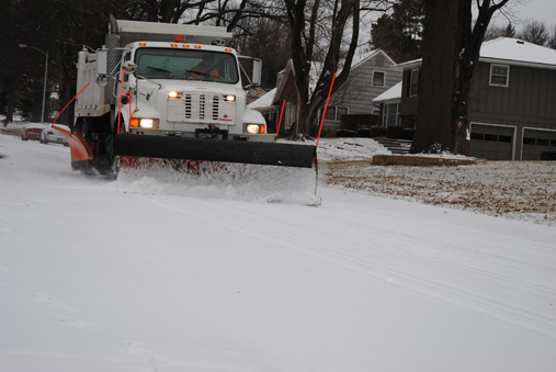 A Prairie Village snow plow at work last season. Remember what those look like?
