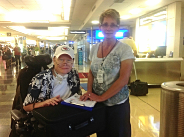 Finn Bullers (left) and Overland Park-based ResCare nurse Karen Iverson during a trip to Washington, D.C., in 2012.