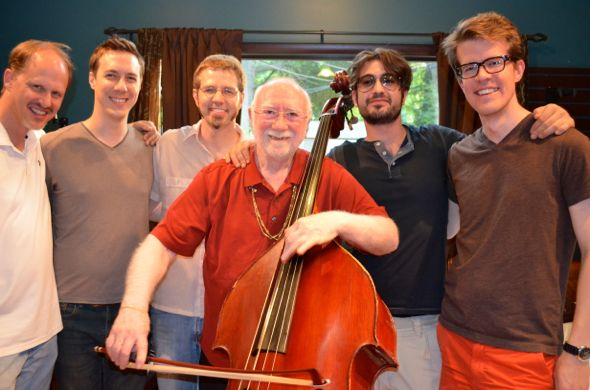 KC Bass Workshop faculty include (L-R) Hans Sturm, Shawn Conley, Johnny Hamil, Francois Rabbath, Sylvain Rabbath and Ted Botsford.