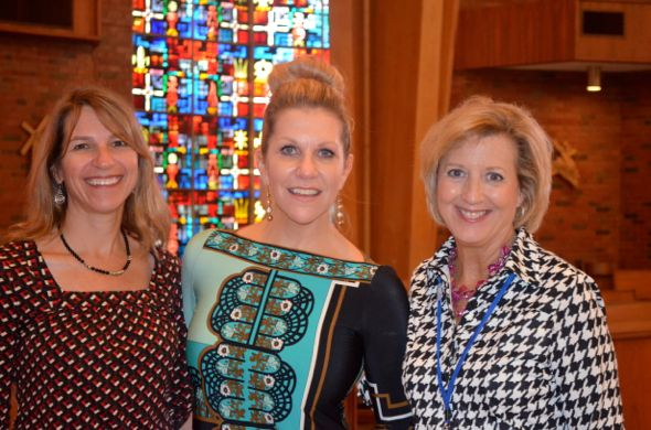 Joyce DiDonato (center) with her sister, Amy Hetherington (L) and St. Ann's principal Becky Akright after the mini-concert and question session at St. Ann's on Thursday.
