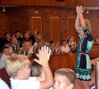 Joyce DiDonato enthralled students at St. Ann's Catholic School Thursday.